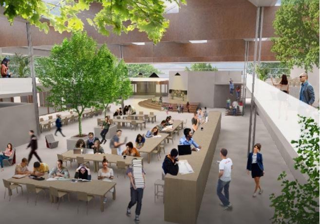 mooie animatie van het nieuwe twickel college in hengelo - flex facility